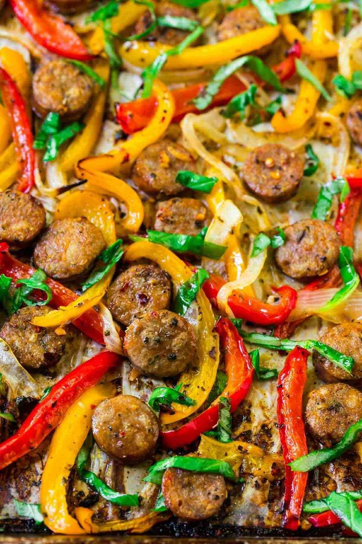 Italian Sausage and Peppers in the oven. An easy, healthy