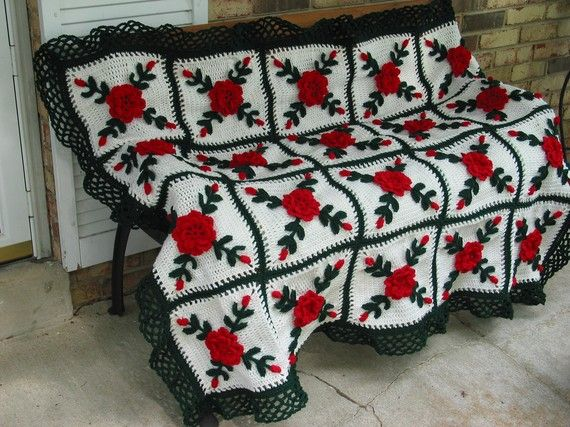 Roja Afgana de rosas silvestres manta ganchillo  hecho fresco