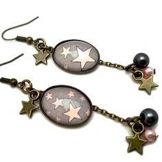 Boucles d'oreille étoile, boucles d'oreille cabochon  rétro «etoile ! », rose, gris, étoile