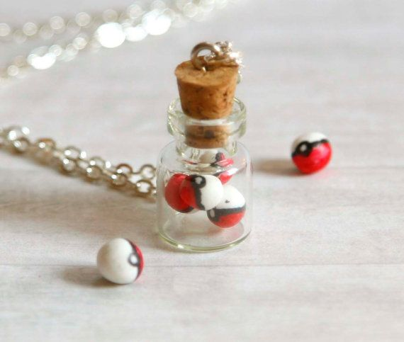Pokeball in a jar necklace made of polymer clay miniature bottle