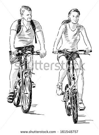 young people on bikes - stock photo