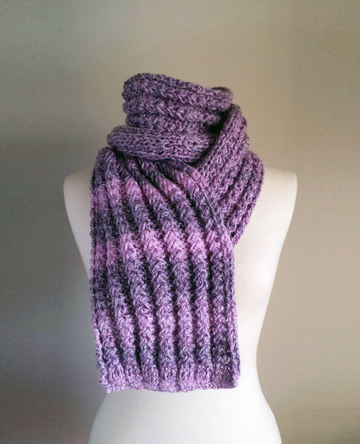 Purple Knit Scarf, Soft Pink Knit Scarf, Pink Striped Scarf, Chunky Pink Scarf by ManaKori on Etsy