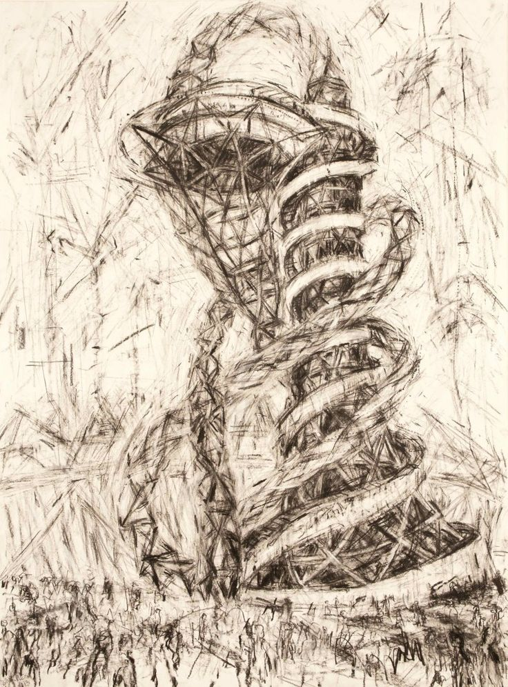 Arcelor Mittal Orbit - Anish Kapoor Sculpture. Drawing by Jeanette Barnes