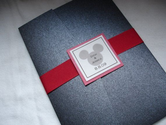 Custom Disney Mickey Pocketfold Wedding Invitations