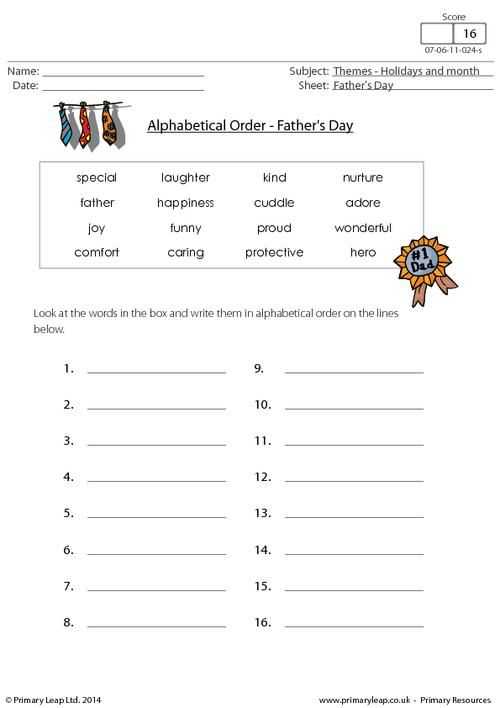 PrimaryLeap.co.uk - Father's Day - Alphabetical Order ...