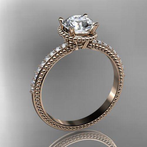 14kt rose gold diamond unique engagement ring,wedding ring