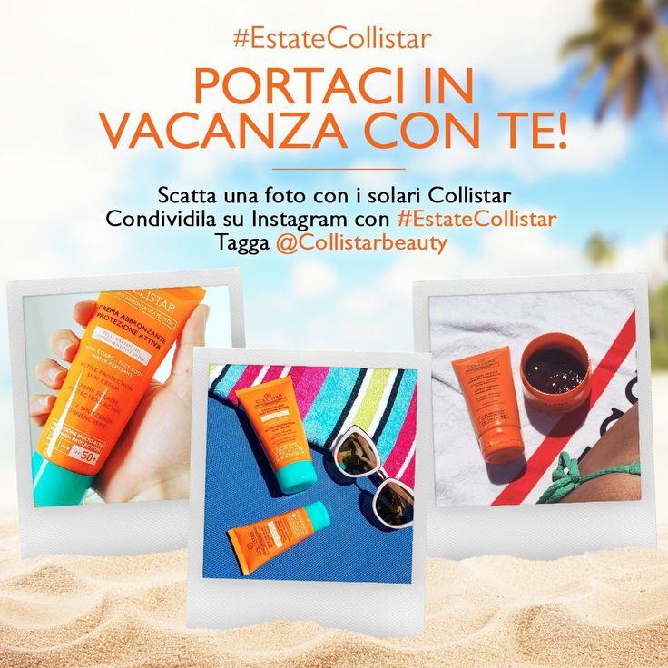 Nella vostra borsa da spiaggia non può certo mancare...crema solare, spray per capelli,  gloss o...? Scattatele una foto insieme ai nostri prodotti e condividetela con #estatecollistar