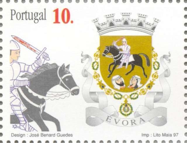 Sello: Évora (Portugal) (Coats of arms of the districts of Portugal) Mi:PT 2207,Afi:PT 2439