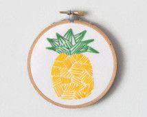 Geometric Pineapple Embroidery Hoop Art Home Decor