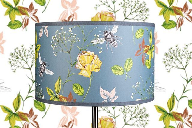 New  Flora & Fauna Lampshade  With or without coordinating wallpaper  Available now  [link in bio] . . . . . #new #newcollection2018 #interior #interiorproducts #lampshade #wallpaper #flora #fauna #bees #flowers #drawing #watercolour #watercolor #digitallyprinted #luxury #lifestyle #wallpaperdecor #ihavethisthingwithwalls #rachelreynoldstextiles #patterndesign #featurewall #patternity #printonprint