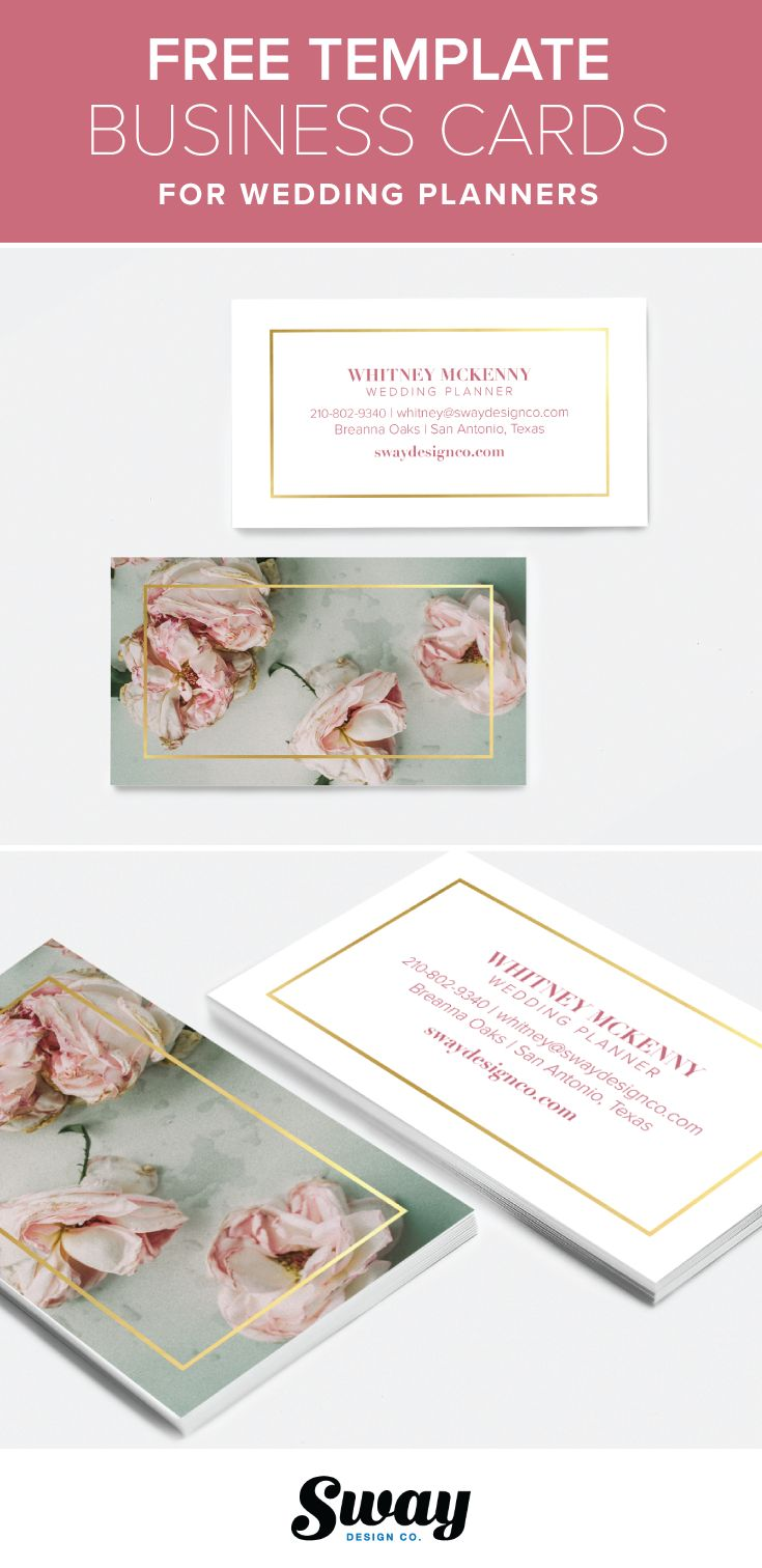 Free printable pink floral and gold business card template for wedding and event planners from Sway Design Co. | http://www.swaydesignco.com