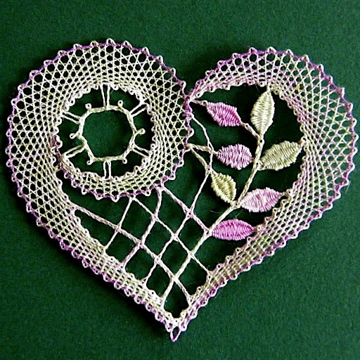 Just in time for Valentine's Day - look at this beautiful bobbin lace heart!