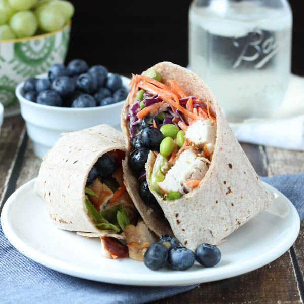 Thai Chicken Salad Wrap with blueberries is a healthy, colorful and flavorful lunch option that the entire family will love. Just add blueberries!