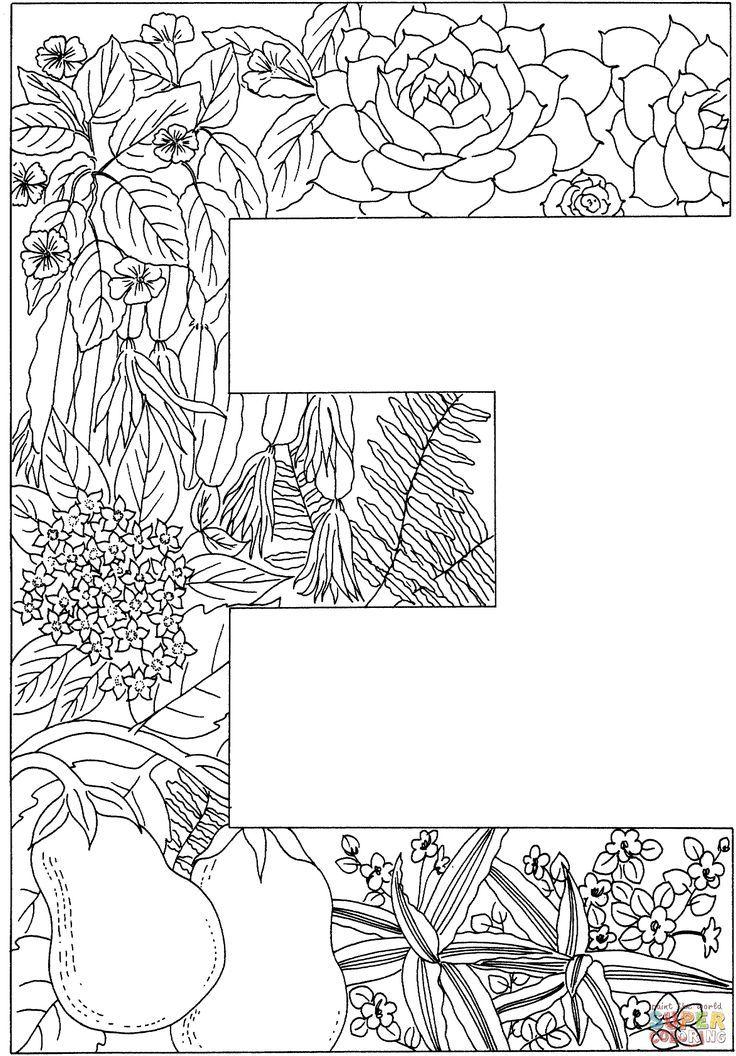malvorlagen buchstabe e mit pflanzen ausmalbilder