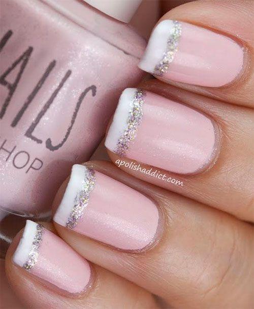 Pink glitter nail art | follow @sophieeleana