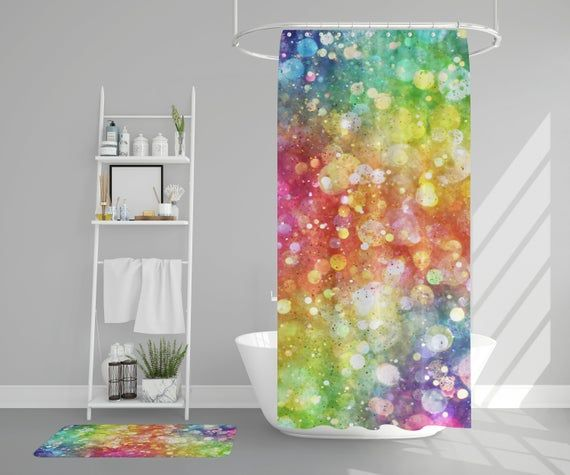 Rainbow Shower Curtain Girly Shower Curtains Confetti Shower