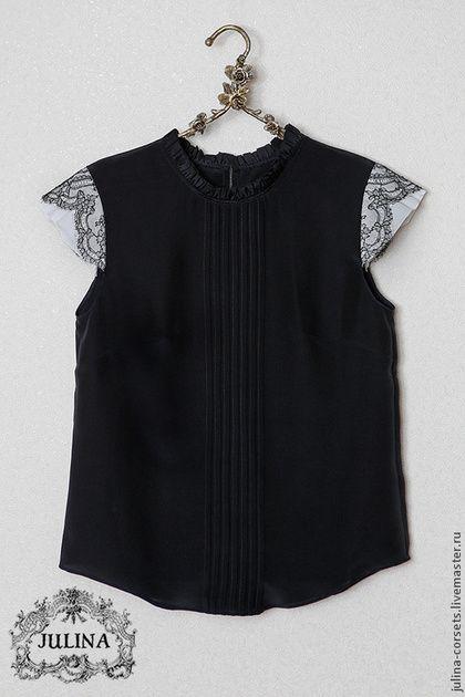 Блузки ручной работы. Заказать Блузка шелковая черная с кружевом и защипами. JULINA. Ярмарка Мастеров. Блуза, блуза шелковая
