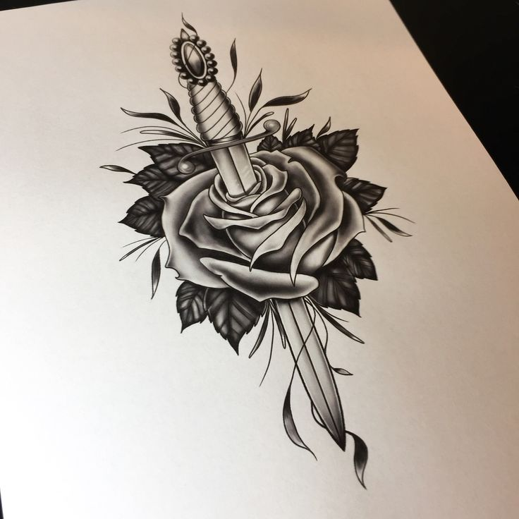 Dagger and rose drawing. Tattoo flash by Neil Ohmie. @neilohmie on Instagram.