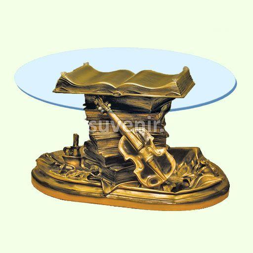 Журнальный столик Скрипка. Стеклянные кофейные столы статуи для дома