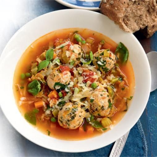 Chicken and basil meatball soup
