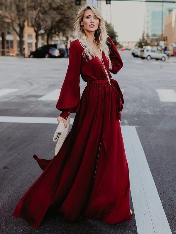 65957b77b83 V-neck Long Sleeves Belted Maxi Dress