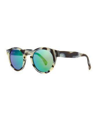 Leonard Round Horn-Pattern Sunglasses with Mirror Lens by Illesteva at Neiman Marcus.