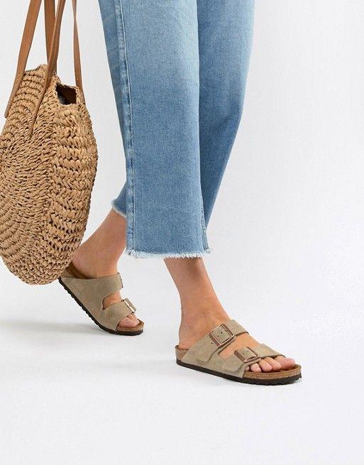 bd91709ce Birkenstock | Birkenstock - Arizona - Taupe suède platte sandalen met  smalle pasvorm