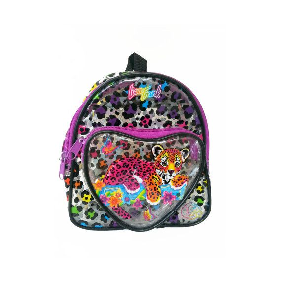 Vintage Lisa Frank Rainbow Leopard Backpack Clear