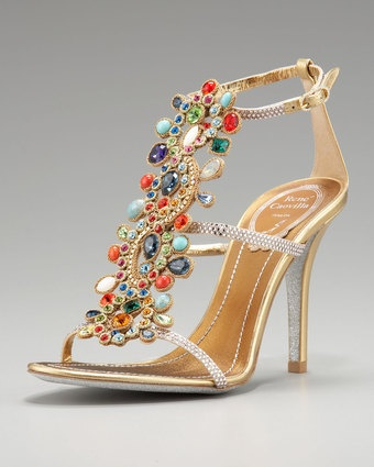 Obsessed with Rene Caovilla... no one does jeweled shoes like this! Multi-Crystal Sandal