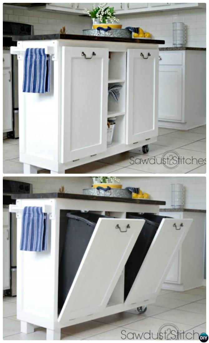 5 Smart Ways To Hide Your Kitchen Trash Can Furniture Pinterest And Cabinets