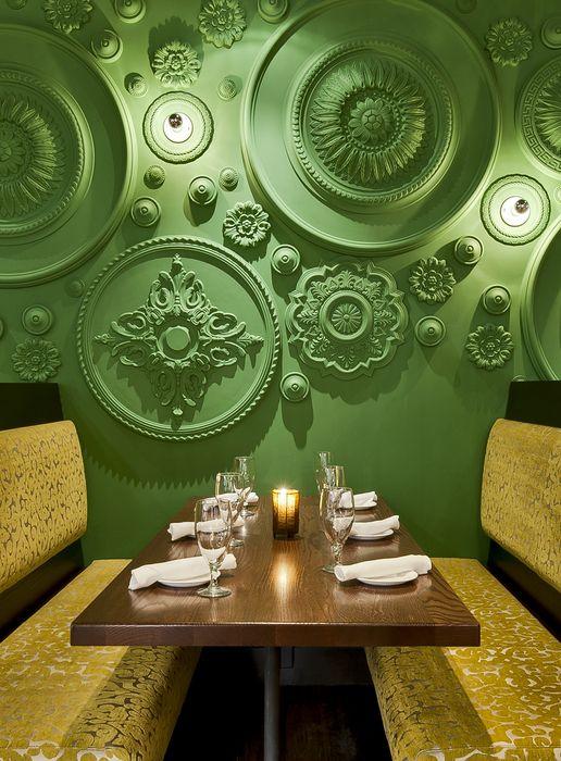 Décoration intérieure / Salon salle à manger restaurant / Vert / Revêtement mural / Original / Moulures / Caractère / Idée