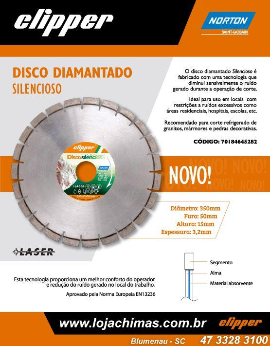 Disco Diamantado Segmentado Silencioso Clipper 350mm