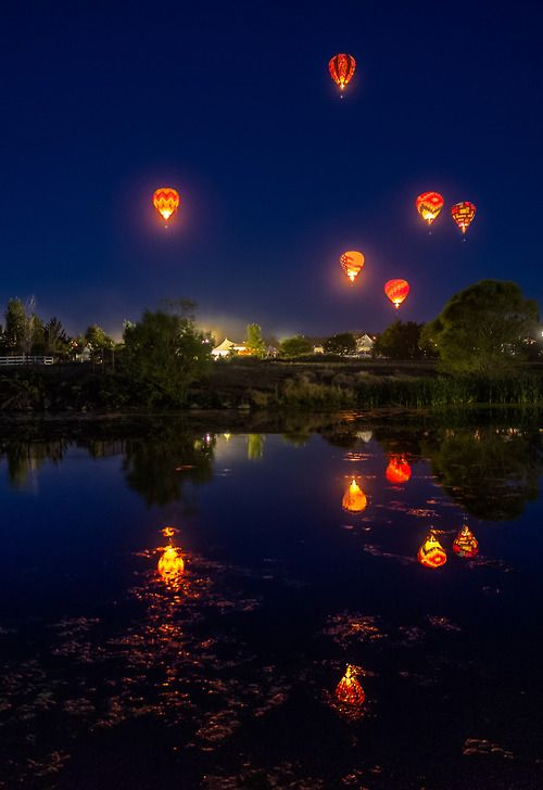 travelthisworld:  Dawn Patrol at Great Reno Balloon RaceReno, Nevada, USA | by Beau Rogers  Balloons in the nightime