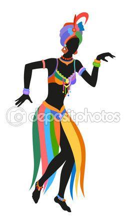 Mujer africana de danza étnica — Vector de stock #112683860
