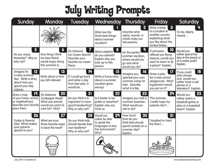 Keep up the daily writing this summer with our July writing prompts!
