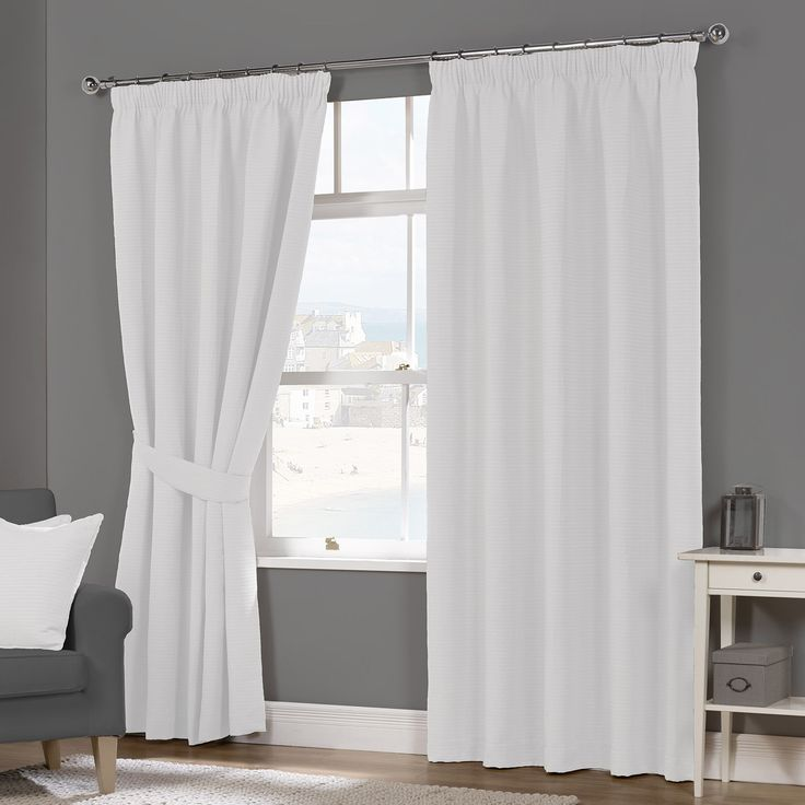 Naples White Luxury Lined Pencil Pleat Curtains (Pair) - Julian Charles