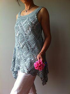 Vicky Chan's Jordan, a sleeveless pineapple top to crochet. buy via Ravelry. An asymmetrical hem. forgiving shape, worked in one piece from yoke down