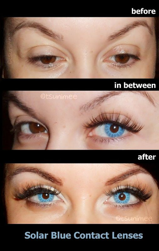 Bright blue contacts for dark eyes