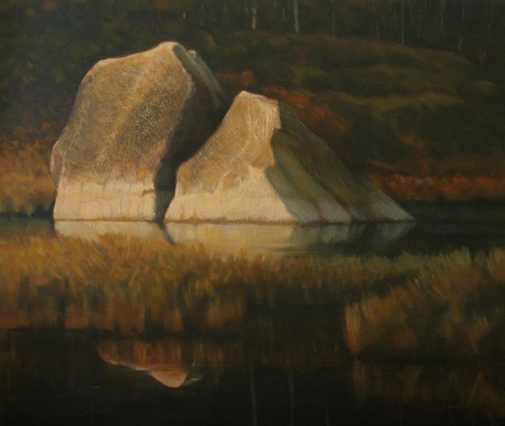 Oil painting on board of warm light on a rocky landscape with water and reflections by Micheal Hames.
