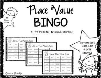 4th Grade Decimal Place Value Bingo: TEKS 4.2B, 4.2C