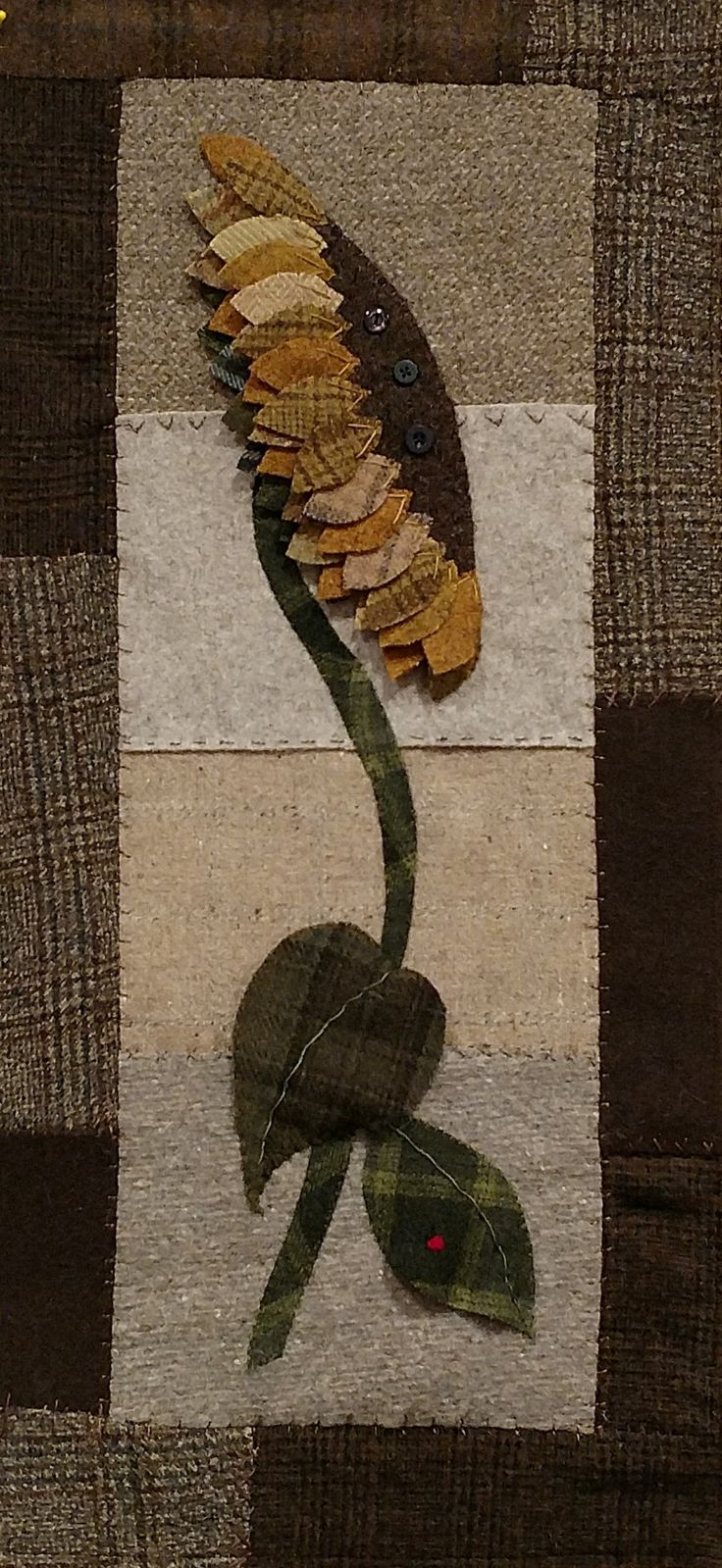 """Wool applique sunflower """"Autumn Solace"""" created by CT at Twisted Tye Designs. Pattern available email twistedtyedesigns@gmail.com"""