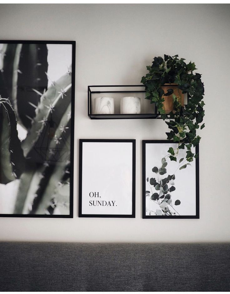 Gallery wall with simple prints and plants #print #simple #gallery wall