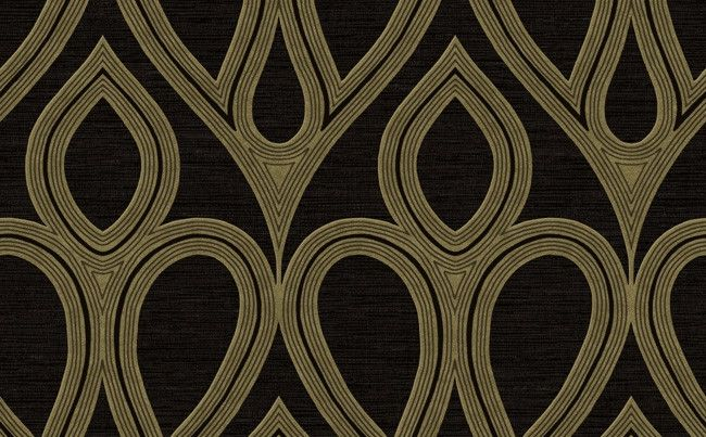 Damask Geometric Wallpaper in Black and Gold by Seabrook Wallcoverings