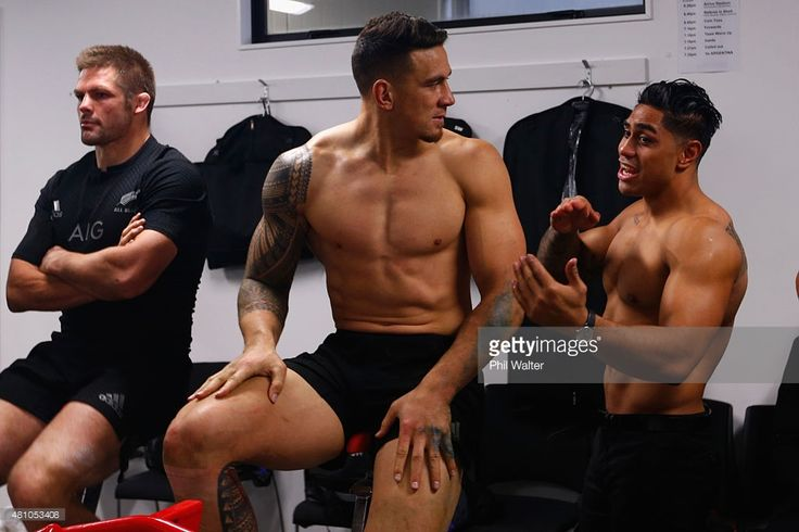 Sonny Bill Williams (C) and Malakai Fekitoa (R) of the New Zealand All Blacks relax in the dressing room following The Rugby Championship match between the New Zealand All Blacks and Argentina at AMI Stadium on July 17, 2015 in Christchurch, New Zealand.