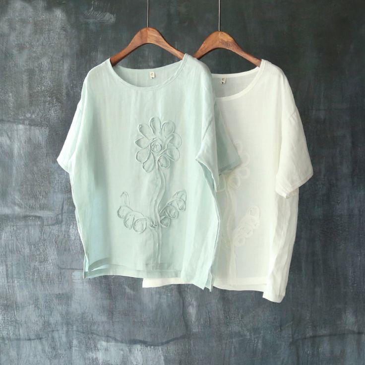 2017 Summer Creative Appliques Flower T Shirt Cotton Linen Loose Tees Tops Plus Size Batwing Sleeve T-Shirt Tops