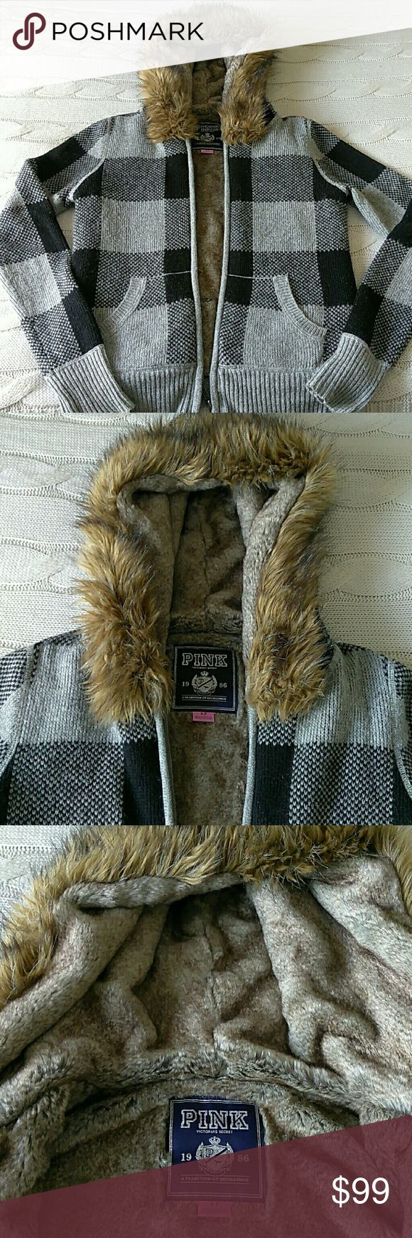 VS Pink Fur Lined Hoodie Rare VS Pink Real Rabbit Fur Lined Plaid Hoodie. EUC. Will fit looser on a S and more fitted on a M. PINK Victoria's Secret Jackets & Coats