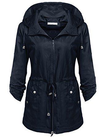 8a581376c Billti Womens Lightweight Waterproof Trench Windproof Raincoat ...