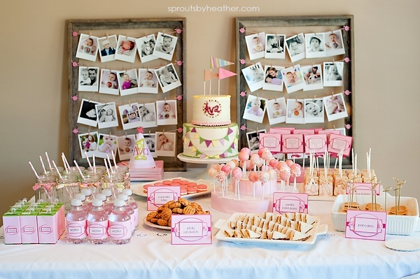 First birthday party table setting all items except the for Baby girl 1st birthday party decoration ideas