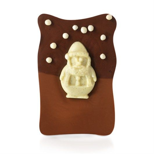 A vanilla chocolate Santa takes a stroll on a slab of salted caramel under nibbly white snowflakes in our Snowy Santa Minislab. #hotelchocolat #hcdreamhamper