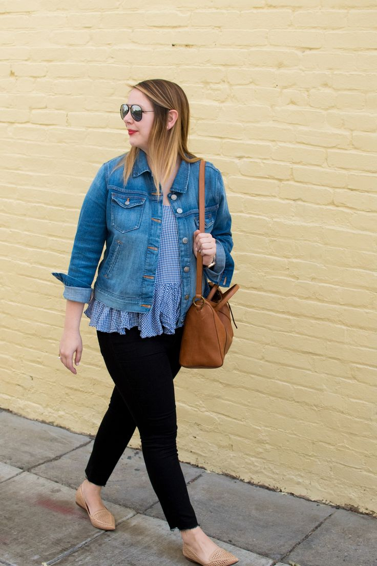 Sharing my tips and tricks for putting together office appropriate casual Friday outfits for spring, including this black jean and denim jacket combo.
